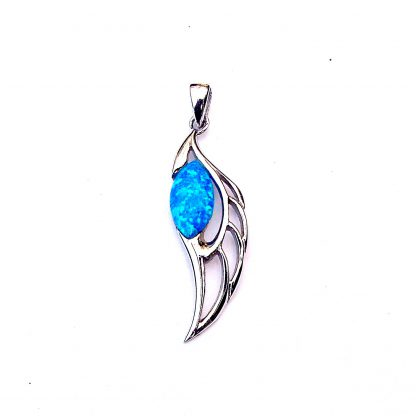 stunning blue opal angel wing pendant